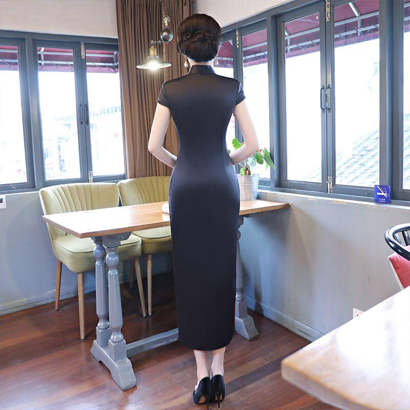 Nero Della Elegante Xxl Qipao Xxxl Di M Delle Femminile Vestidos Vestito 19305 Cinese Taglia L Donne Modo Rayon Novità Sottile Il Stile Xl Lungo Cheongsam DH2I9WE