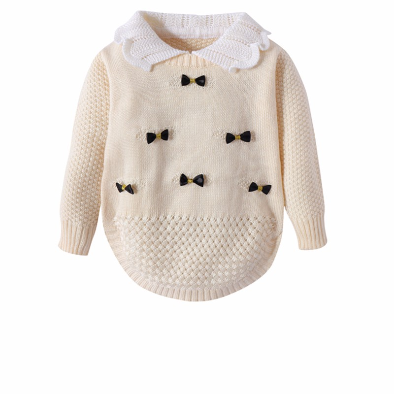 Cotton Girls Sweaters Solid Long Sleeve Clothes Knit Pullover Outerwear With Bows Warm Children Top Autumn Winter Kids Sweater (4)