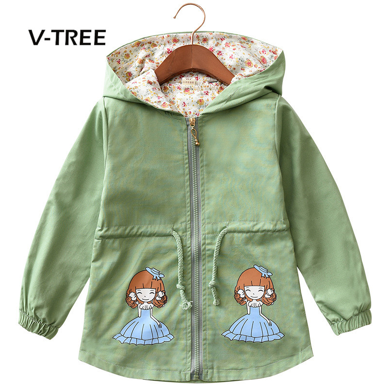 V-TREE Autumn Winter Girls Jacket Coat Cartoon Hoodies For Girl Kids Trench Clothes Fo Sell Factory Sell Directly Baby Outwear v tree girls jacket coat fleece girls hoodies spring autumn kids sweatshirt warm girls tops coat zipper clothes baby clothes