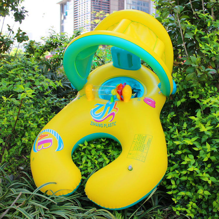 Infant sunshade seat pool float Parenting interactive mother and Baby swimming ring Child swimming float pool Inflatable seat