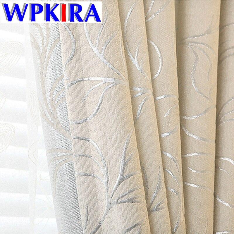 Silver Leaves Pattern Chenille Jacquard Blinds Custom