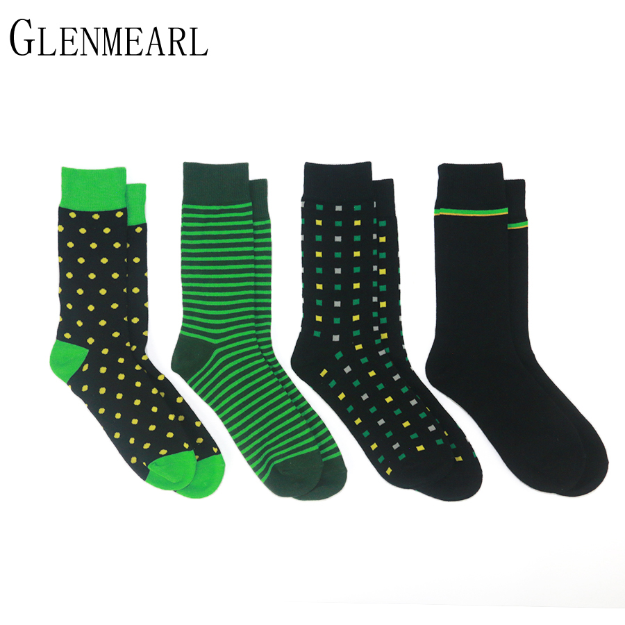 4 Pairs Lot Cotton Men Socks Brand Business Spring Fall Plus Size Compression Coolmax Striped Point