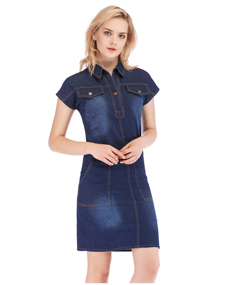 Loose Buttons Short Sleeve Blue Denim Dress 4