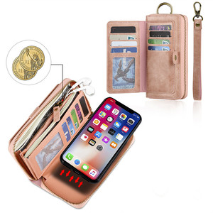 Image 5 - FTAIDKJ תכליתי עור מפוצל רוכסן ארנק כרטיס מקרה עבור iPhone XS X 7 8 בתוספת 6 6 S בתוספת נשלף Filp כיסוי ארנק תיק