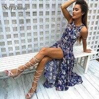 Self Duna 2017 Women Summer Beach Long Dress Backless Flower Print Split Halter Sleeveless Sexy Floor