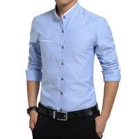 Autumn New Fashion Casual Men Shirt Long Sleeve Mandarin Collar Slim Fit Shirt Men Korean Mens Dress White Shirts 4XL 5XL