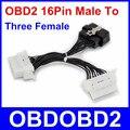 Лучшее Качество Elm327 16Pin OBDII OBD2 16 Контактный Разъем Для три Женский Передачи Автомобиля Диагностический Кабель и Разъем Плоский OBD2 Extender