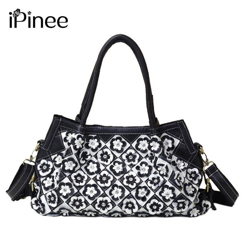 iPinee Trendy European and American Style Women Tote Bag Genuine Leather Flower Applique Bags Women Shoulder Bags With Diamond