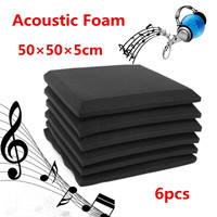 6Pcs Set Wall Silencer Soundproof Acoustic Foam Studio Sound Absorption Insulation Cotton Wall Panel Flame Retardant 50x50x5cm