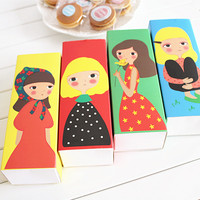 4 девочки десертные Макароны Упаковочная коробка для торта яичный желток слоеного печенья еда подарочная упаковка для конфет lin4336