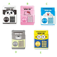 Cartoon Saving Box Christmas Gift Kids Money Boxes Panda Smart Telephone Booth Password Money Piggy Bank