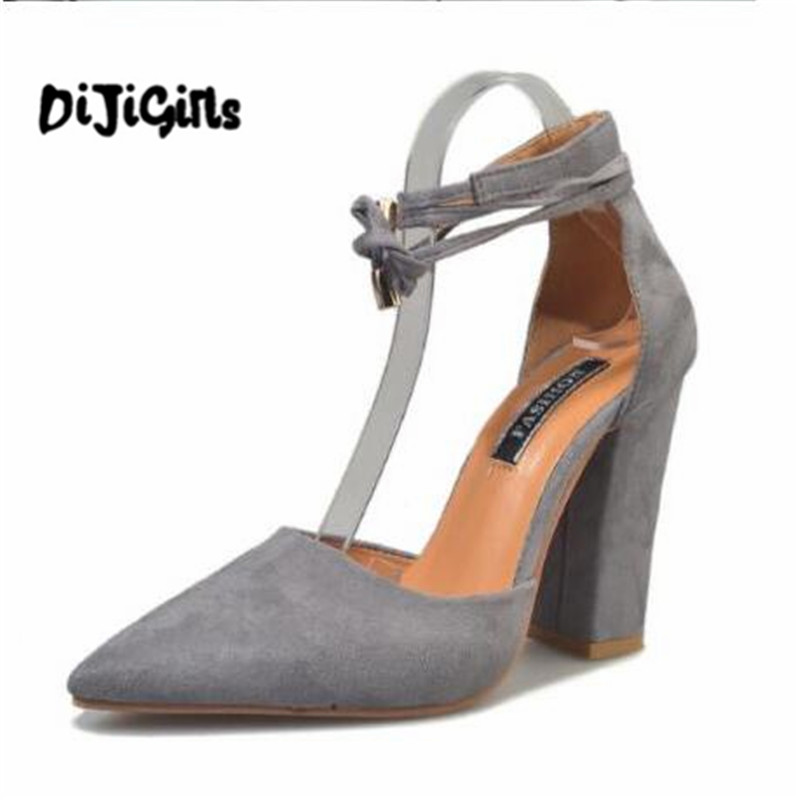 6 Colors Pointed Strappy Pumps Sexy Retro High Thick Heels Shoes 2107 New Woman Shoes Female