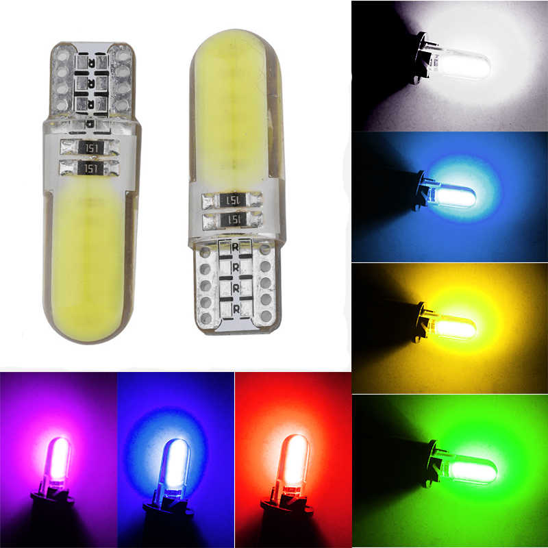 1Pcs T10 Silicone Shell COB Led Car bulb W5W 192 168 Silica gel Auto Wedge Side Light Parking License Plate bulb 12V Car Styling