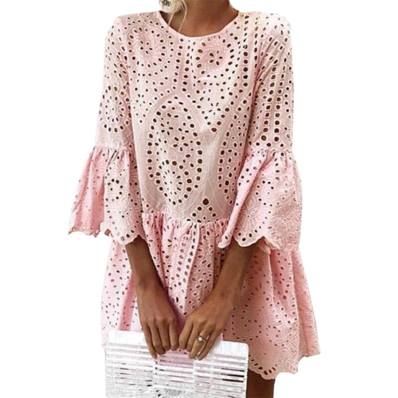 Ruffles Cut Out Lace Summer Dresses Kawaii Girls A-Line Mini Dresses Women Sundress Casual O-neck Flare Sleeve Party Dress GV200