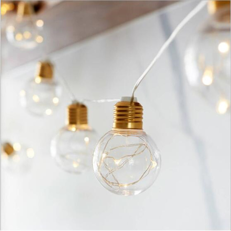 40CM 10LED G45 Bulb Gold Copper Wire LED Flexible String Light AA Battery Lamp For Xmas Yard Holiday Decoration Garland Lighting