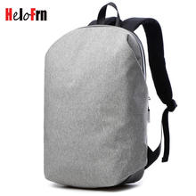 HeloFrn Casual Canvas Bakcpack Men Laptop Bag Travel Simple Backpack For Teenager Male Mochila Gray Black College Student Bag