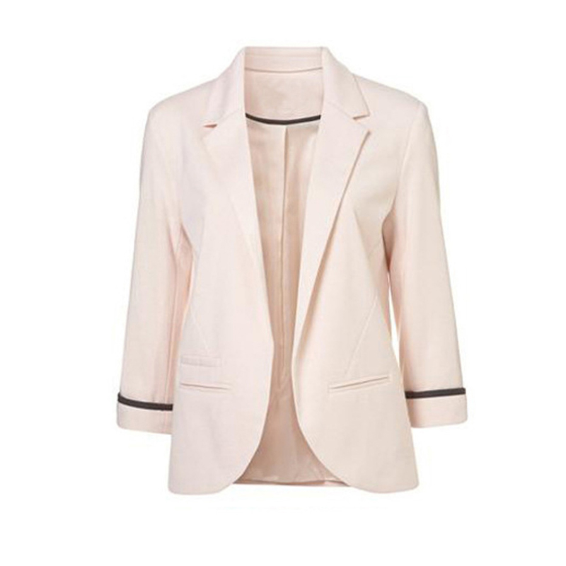 LARGERLOF Plus Size Blazer Women Three Quarter Ladies Blazer Slim Fit Simple Women Blazers And Jackets BR55002