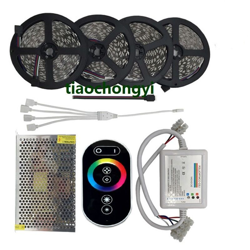 10-20M 5050 RGB LED Strip lights DC12V+RF Touch controller+power supply full set diy rgb full color store window led sign module 6 pcs 1pc power supply 1pc led controller 1set frame