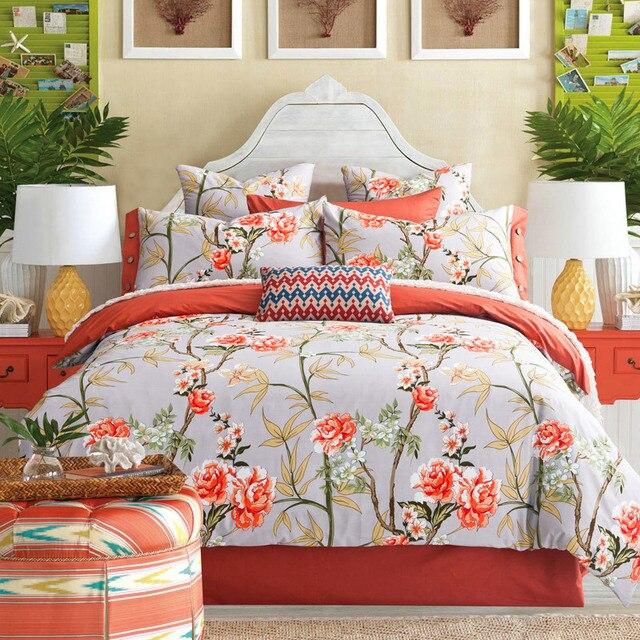 Floral Print Sheet Heartimpulsarco - Orange print sheets