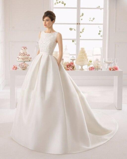 14c30d8a10 Novias Vestidos Baratos 2016 Simple White Elegant Vestido De Noiva Royal  Train Backless Wedding Dress Satin Wedding Dress wh1523