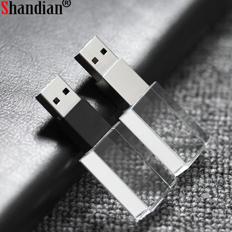 Cheap Price Shandian Crystal Usb Sticks 3d Print Custom Logo 4gb 16ggb Usb Flash Pendrive 32gb 64gb Transparent Glass(over 10 Pcs Free Logo