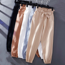 Vintage Women Summer Pants 2019 High Waist Casual Solid Color Streetwear Trousers Harem
