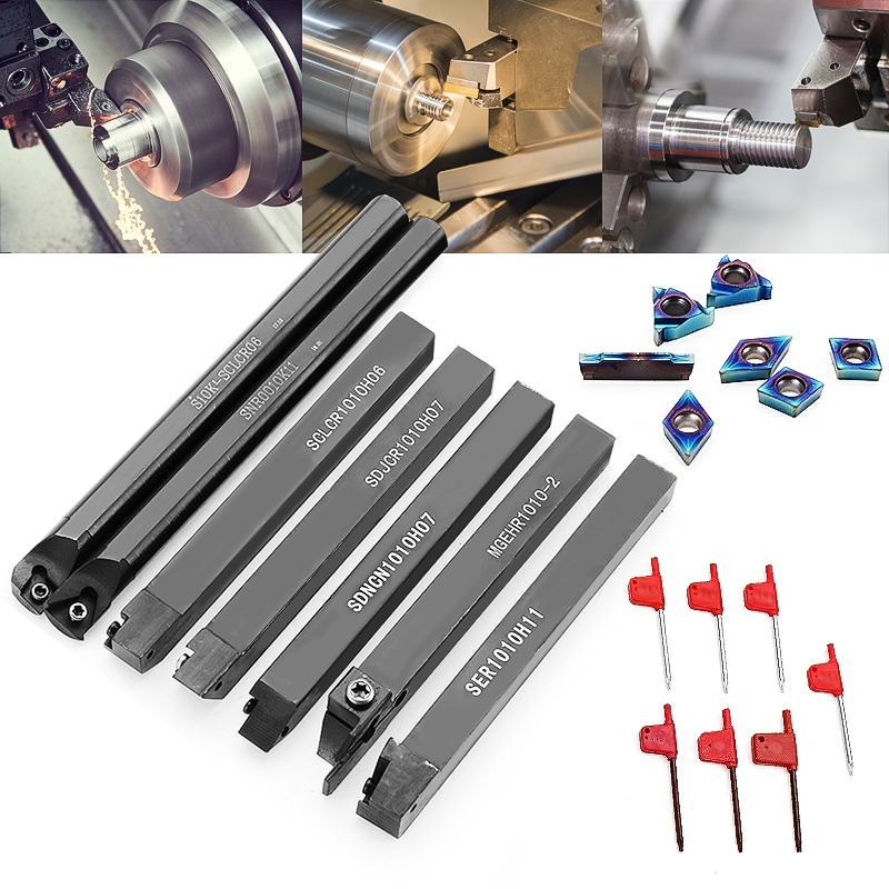 7pcs 10mm Shank Lathe Turning Tool Holder Boring Bar With Blue Nano Carbide Inserts For Lathe Turning Tools 6pcs good precision lathe turning tool holder boring bar 10mm shank 7pcs carbide pvd inserts blade set 1pcs wrenches