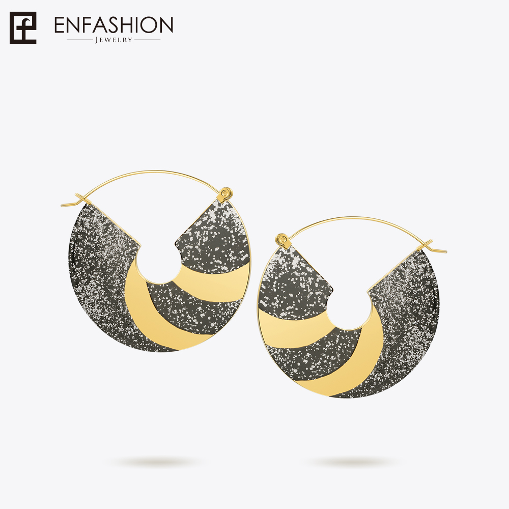 Enfashion Lacquer Art Series Sparkler Drop Earrings Big Fan Shape Earrings Handmade Geometric Classic women's Earrings EBQ18LA20 pair of faux gem geometric drop earrings