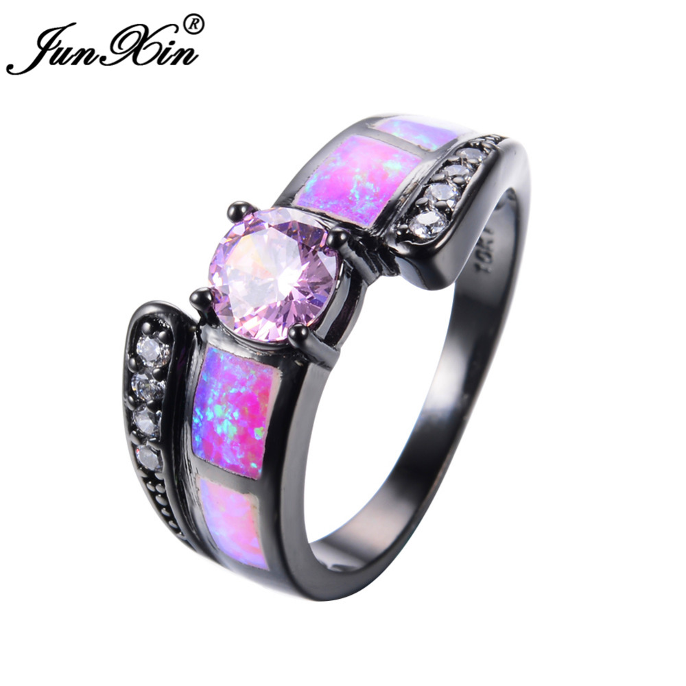 JUNXIN Romantic Women Engagement Ring Cute Pink Fire Opal ...