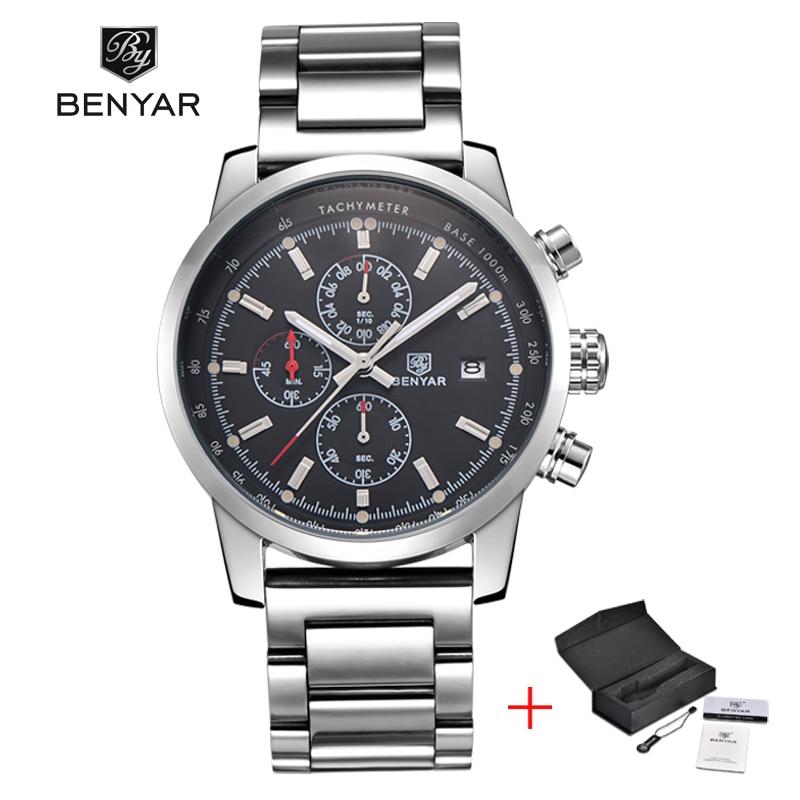 Prix pour Benyar mode chronographe sport mens montres haut marque de luxe militaire inoxydable bracelet en acier quartz montre relogio masculino