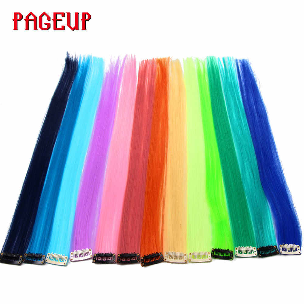 Pageup Pure Color Rainbow Synthetic Hair Pieces For Women Blonde Pink Clip In Hair Extensions Invisible Colorful Hairpieces