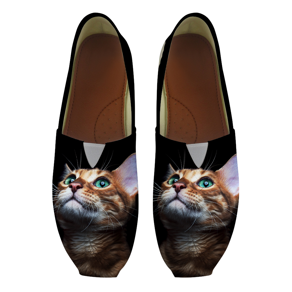 Black Look Up Vivid Cats Summer Women Slip On Flats Summer Lazy Shoe Loafers Canvas Girls Students School Footwear Zapatos Mujer women cartoon loafers 2015 casual canvas flats shoesladies trifle thick soled creepers footwear mujer zapatos