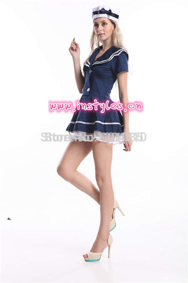 Free Shipping Instyles S 2xl Plus Size Sailor Costume Womens Adult