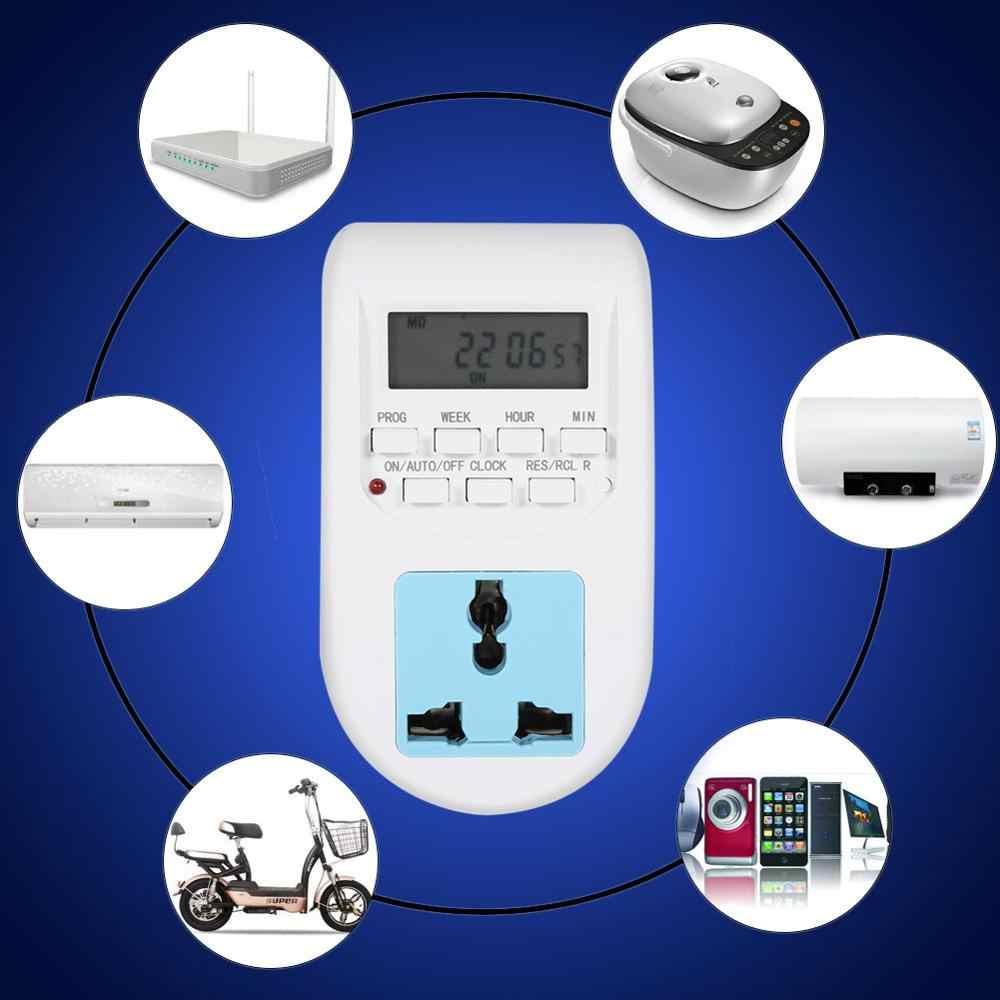 EU Cắm Ổ Cắm Hẹn Giờ Lập Trình Chuyển Ổ Cắm 220 V Đa chức năng MÀN HÌNH LCD Kỹ Thuật Số Ổ Cắm Ổ cắm Công Tắc
