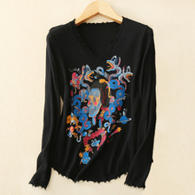 Women's casual appliques skull/cartoon pattern decor 100% real cashmere knitting black pullover sweater with V-neck