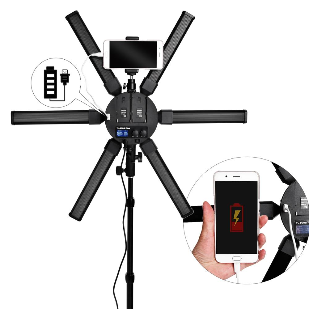 Image 3 - Fusitu TL 900S plus Photography light 3200 5600K Multimedia Extreme Star Ring Light Camera Phone Video led Ring Lamp with tripod-in Photographic Lighting from Consumer Electronics
