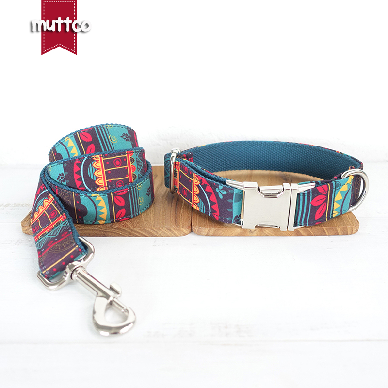 100pcs/lot MUTTCO wholesale ethnic style coloful handmake soft dog collars THE MAYA self-created dog collars and leashes 5sizes