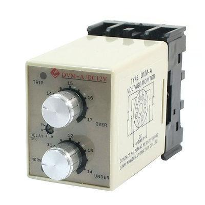 DVM-A/12V DC 12V Protective Adjustable Over/Under Voltage Monitoring Relay