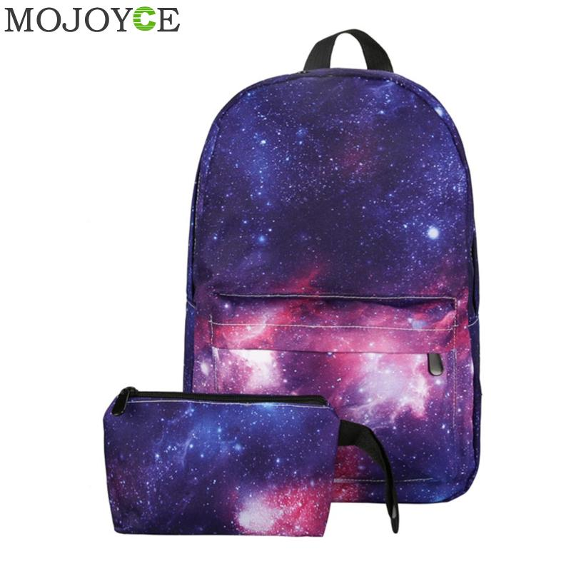 2Pcs Unisex Galaxy Backpack Printed Canvas Backpack Universe Space Backpacks For Teenager Girls Travel Rucksacks