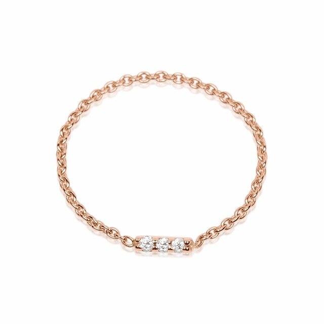 100% 925 sterling silver delicat catena classic design unico donne dainty tre cz