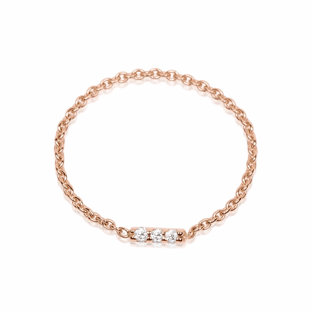 100% 925 Sterling Zilver Delicat Chain Classic Unieke Ontwerp Dainty Vrouwen Drie Cz Bar Ontwerp Ring
