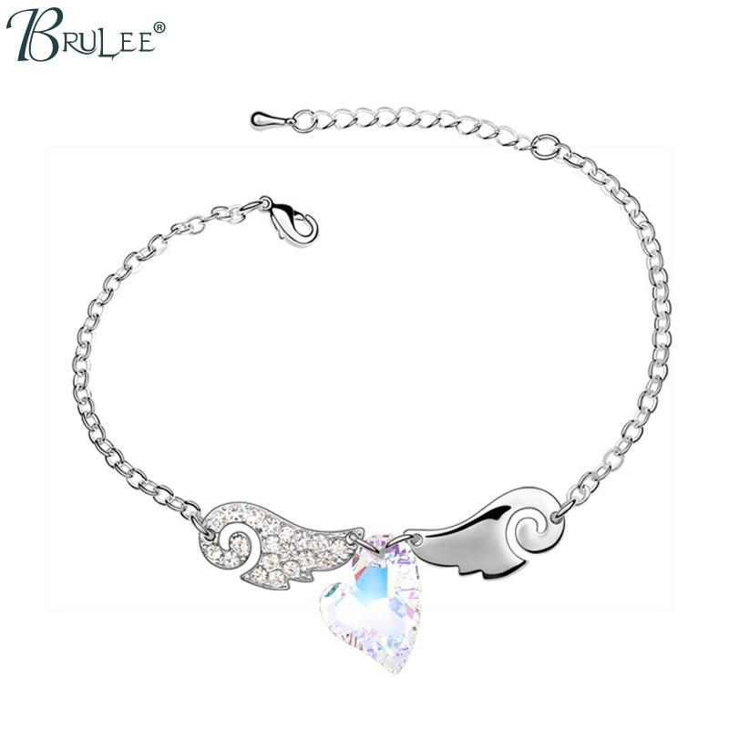 2017 Nouveau Mode Cristal de Swarovski Bracelet Coeur Forme Poinçon De Luxe Ange ailes Bracelets Femmes De Mariage Bijoux Wholes.