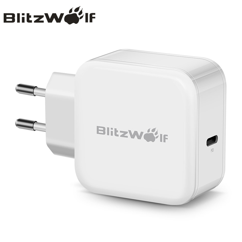 BlitzWolf USB Type-C Charger Mobile Phone Charger Wall Travel Charger Adapter PD 30W Fast Charging For Macbook For Smartphone