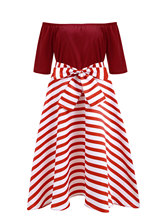 Vintage Dresses Plus Size XL-5XL Stripe Party Knee Length Dress Boat Neck Short Sleeves 50s Robe Female Vestidos