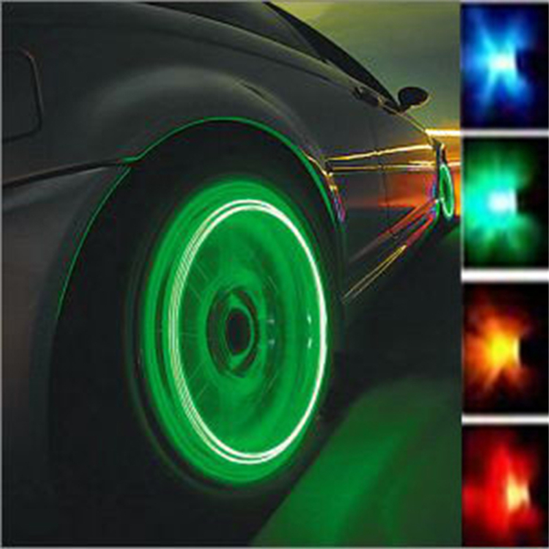 LOT OF 4 PCS NEW Firefly LED Light Tire Valve Stem Cap Wheel Cover Bicycle Green