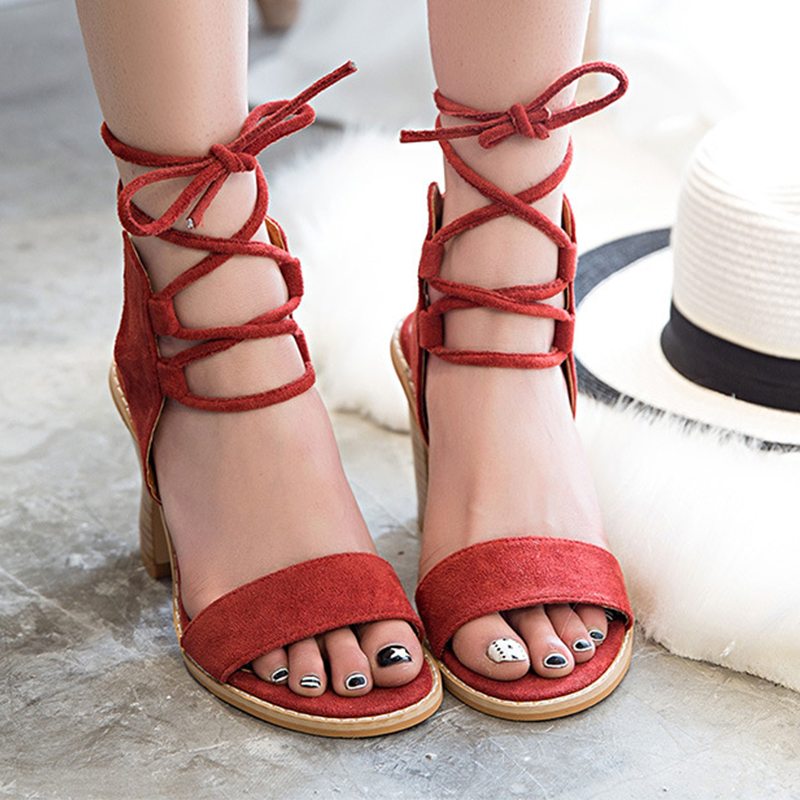 2018 Sexy Women Pumps Open Toe Lace up Heels Sandals Woman sandals Thick with Women Shoes women High heels