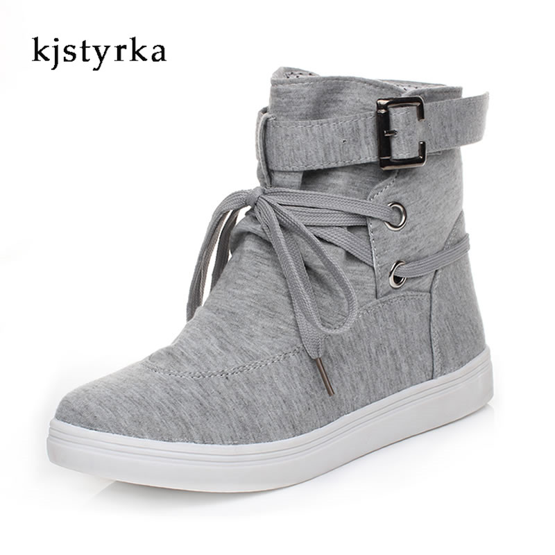 Kjstyrka 2017 fashion style casual spring autumn sneakers for women flats lace up leisure shoes black gray size 35-41 2017 spring autumn women trousers new plus size stretch casual jeans elastic high waist fashion slim black pencil denim pants