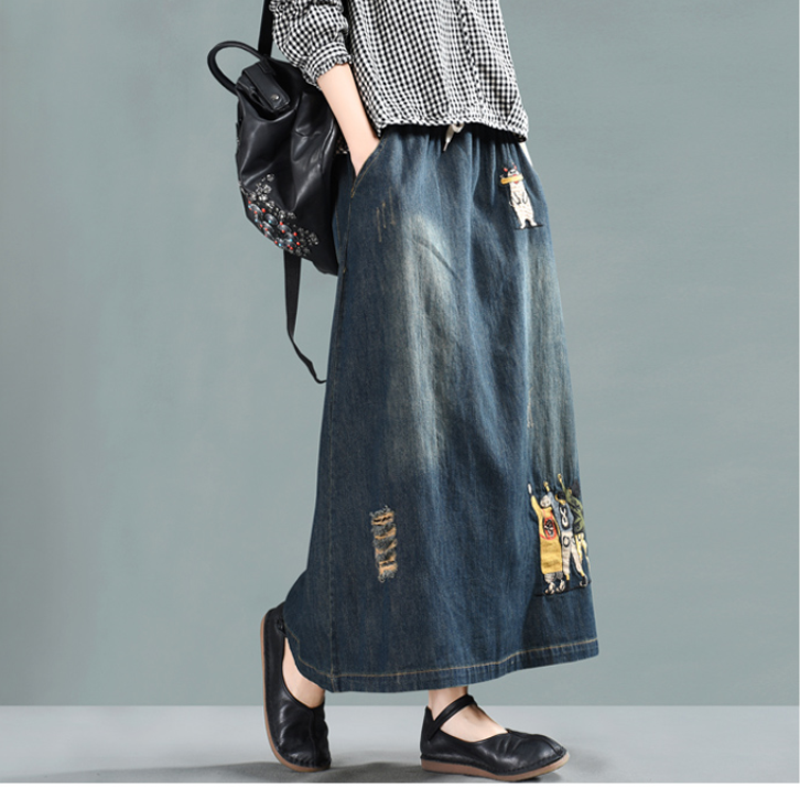 Spring Skirt Retro Women Long Loose Denim Skirt New Ladies Casual Elastic Waist pocket Embroidery Pattern
