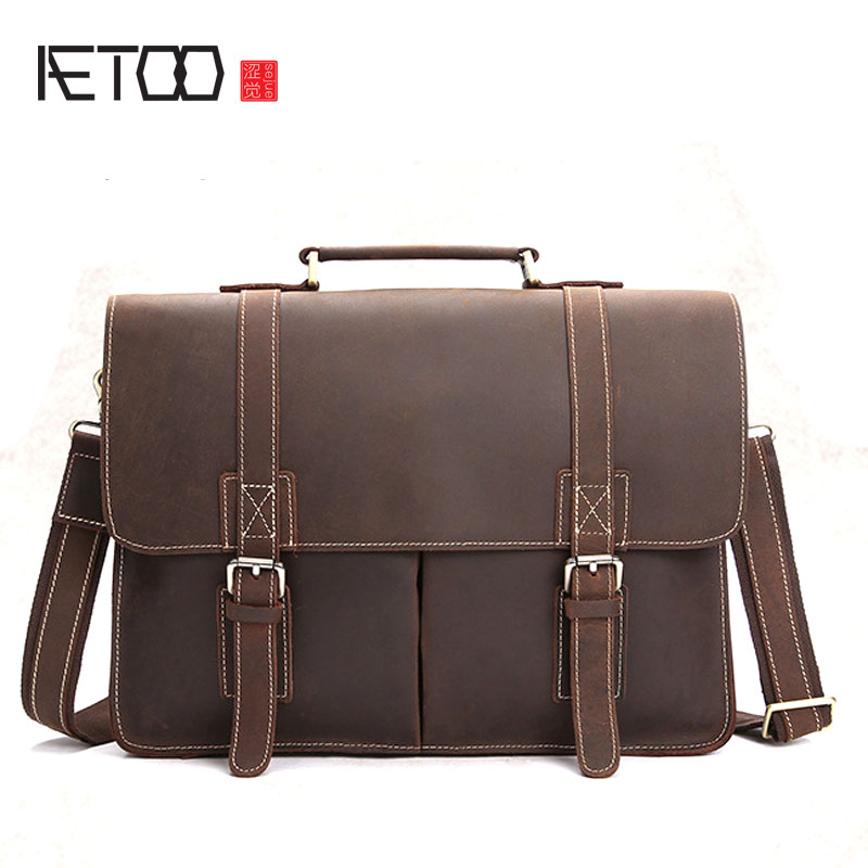 AETOO Retro mad horse leather men 's handbag shoulder bag leather casual briefcase first layer cowhide business computer bag men s leather oblique cross chest packs of the first layer of leather deer pattern men s shoulder bag korean fashion men s bag