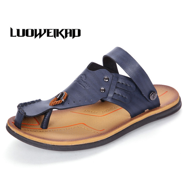 8d0e0328fd5f 2017 Summer Male Casual Shoes Adult Men s Slippers Flip Flops Rubber Sole  Indoor Outdoor Sandals Flat Platform Beach Leather
